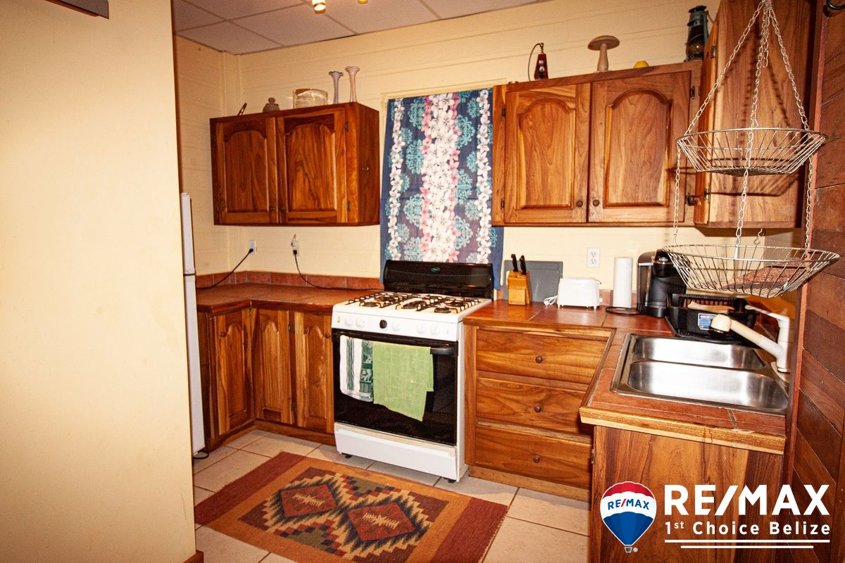 Belizean hardwoods add local character to this kitchen.